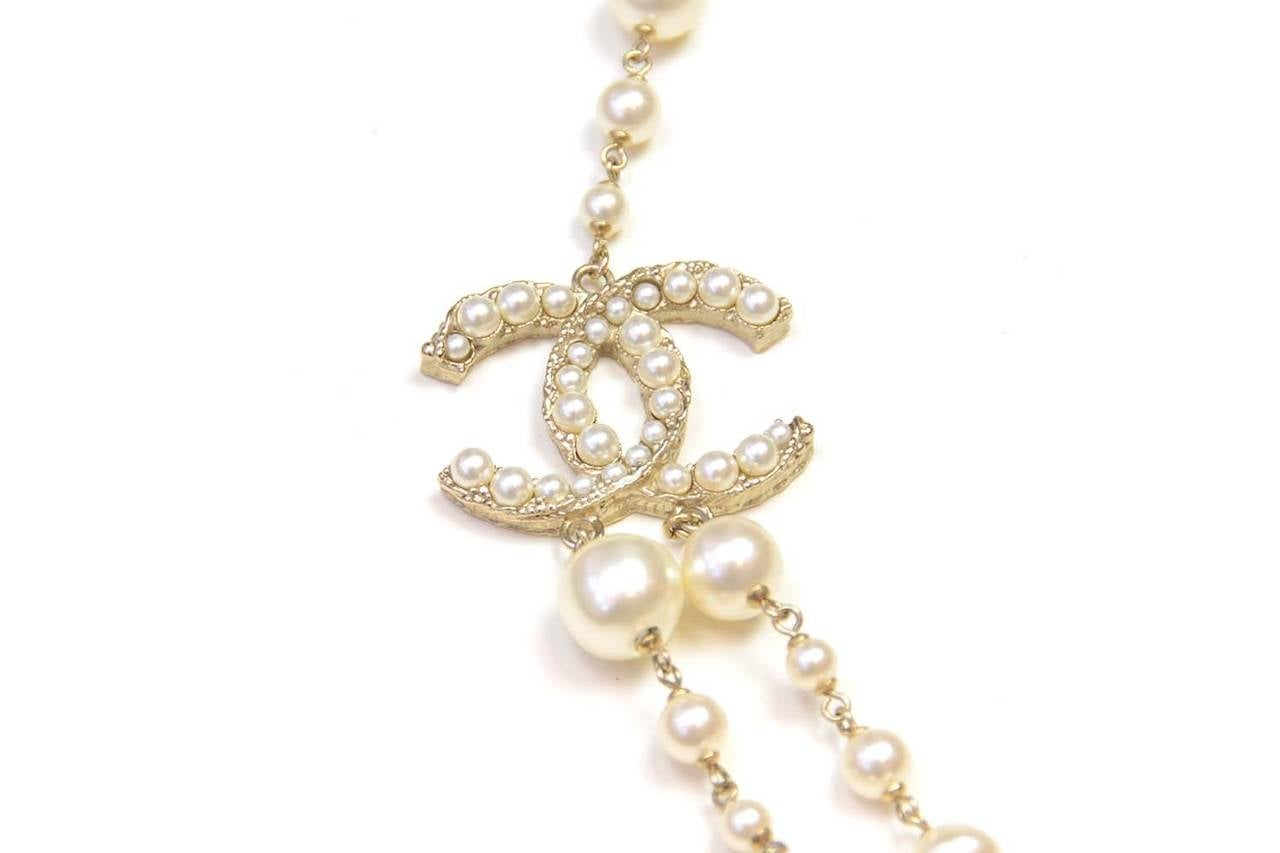 CHANEL 2011 X-Long Double Strand Faux Pearl Necklace w/ CC 4