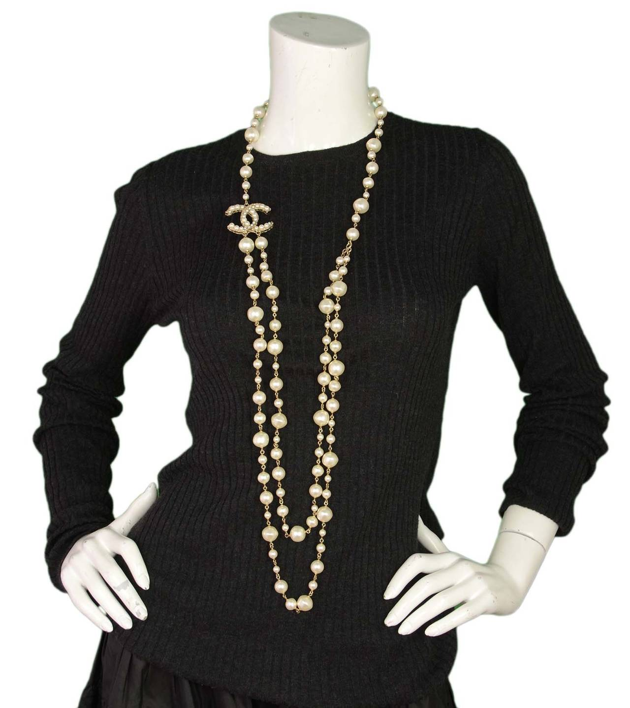 CHANEL 2011 X-Long Double Strand Faux Pearl Necklace w/ CC 7