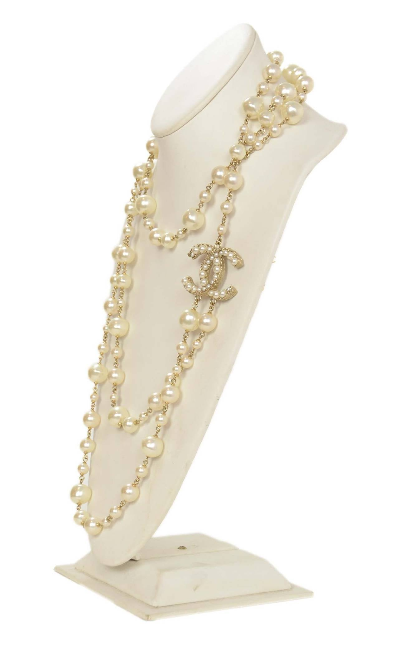 CHANEL 2011 X-Long Double Strand Faux Pearl Necklace w/ CC 2