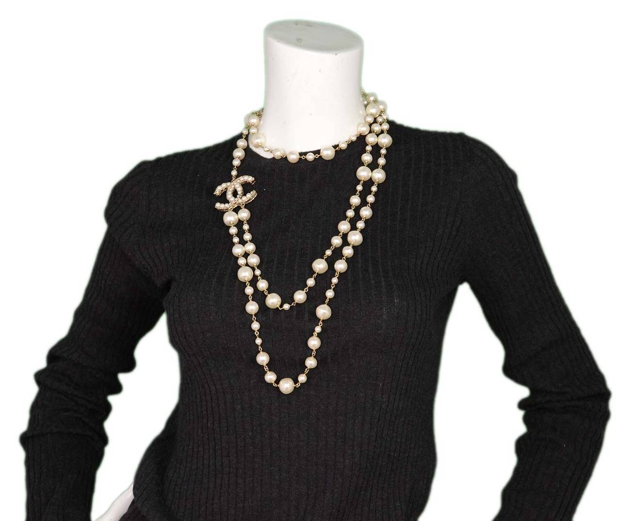 CHANEL 2011 X-Long Double Strand Faux Pearl Necklace w/ CC 8