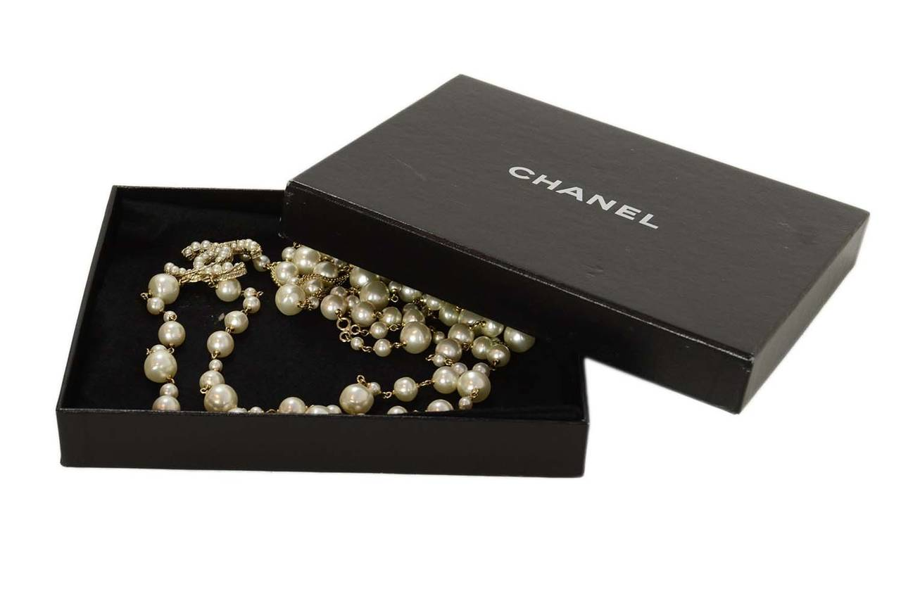 CHANEL 2011 X-Long Double Strand Faux Pearl Necklace w/ CC 6
