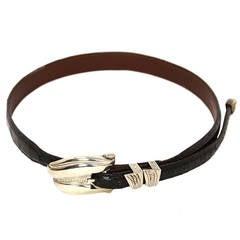 B. KIESELSTEIN CORD Sterling Silver Belt Buckle w. Black Croc Belt sz S