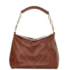 Chanel Brick Brown Leather Shoulder Bag with Contrast Stitching