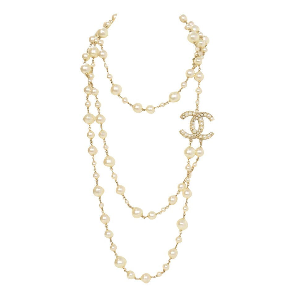 CHANEL 2011 X-Long Double Strand Faux Pearl Necklace w/ CC 1
