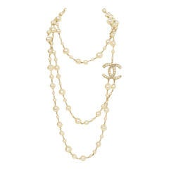 CHANEL 2011 X-Long Double Strand Faux Pearl Necklace w/ CC