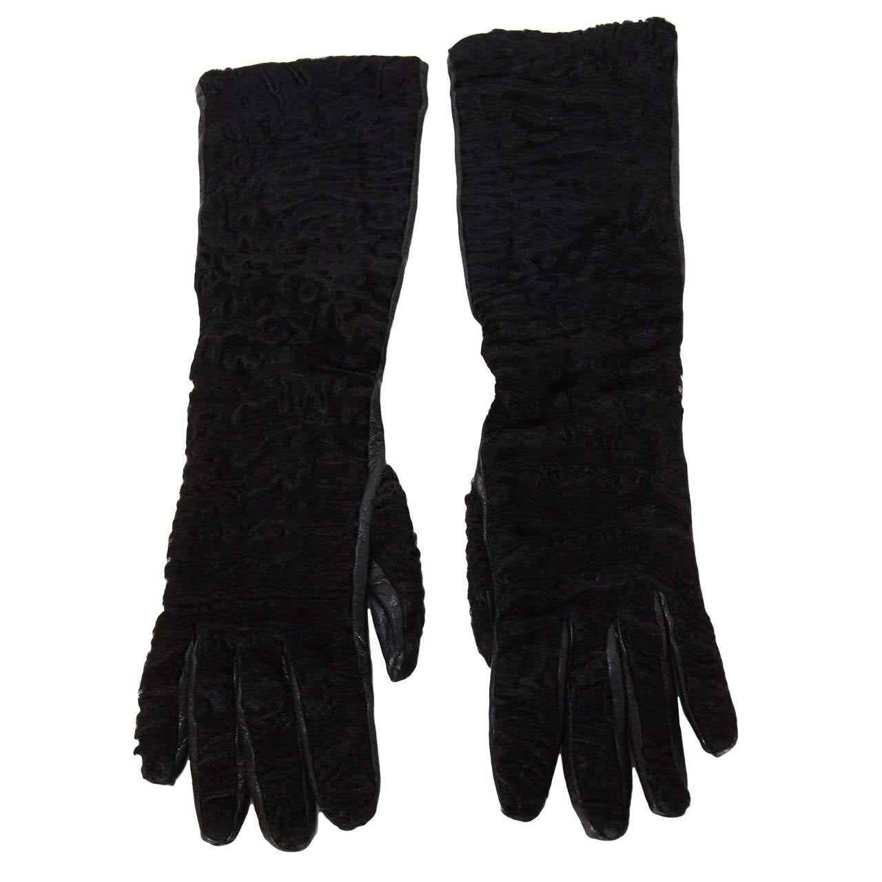 PRADA Black Persian Lamb & Leather Long Gloves sz7 1