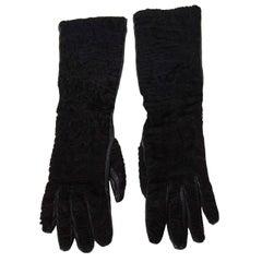Prada Black Persian Lamb & Leather Long Gloves sz 7