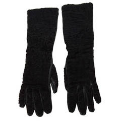 Prada Black Persian Lamb & Leather Long Gloves sz 7
