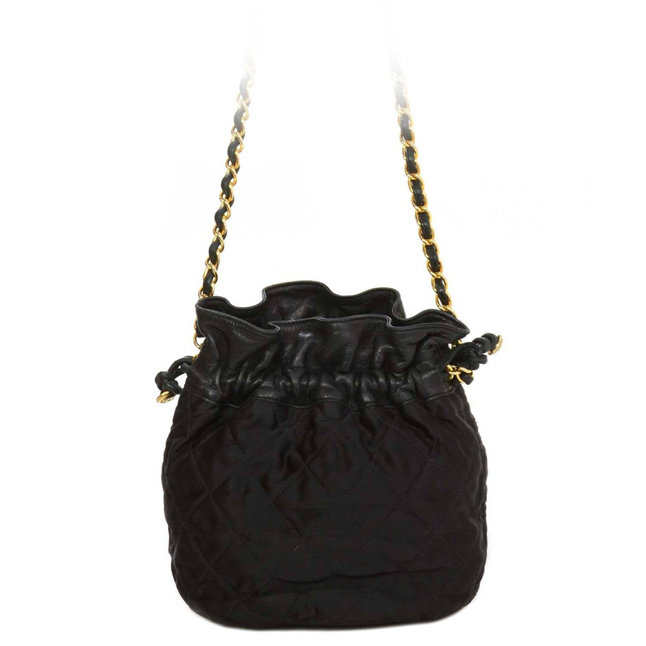 473a066cc129 CHANEL 1988 Vintage Black Leather Satin Quilted Drawstring Bag For Sale