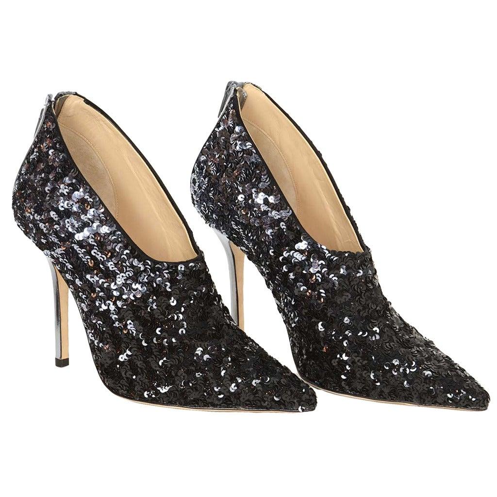 oscar de la renta black silver sequin bootie shoes sz38 at