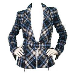 OSCAR DE LA RENTA Blue, Green & White Tweed Zipper Trim Jacket w Belt sz.4