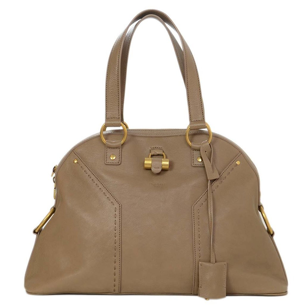 e389258fcc55 YSL YVES SAINT LAURENT Taupe Leather Large Muse Tote Bag GHW rt ...