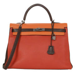 HERMES Rare Tri-Color Red/Orange/Brown 35cm Togo Leather Retourne Kelly Bag RHW