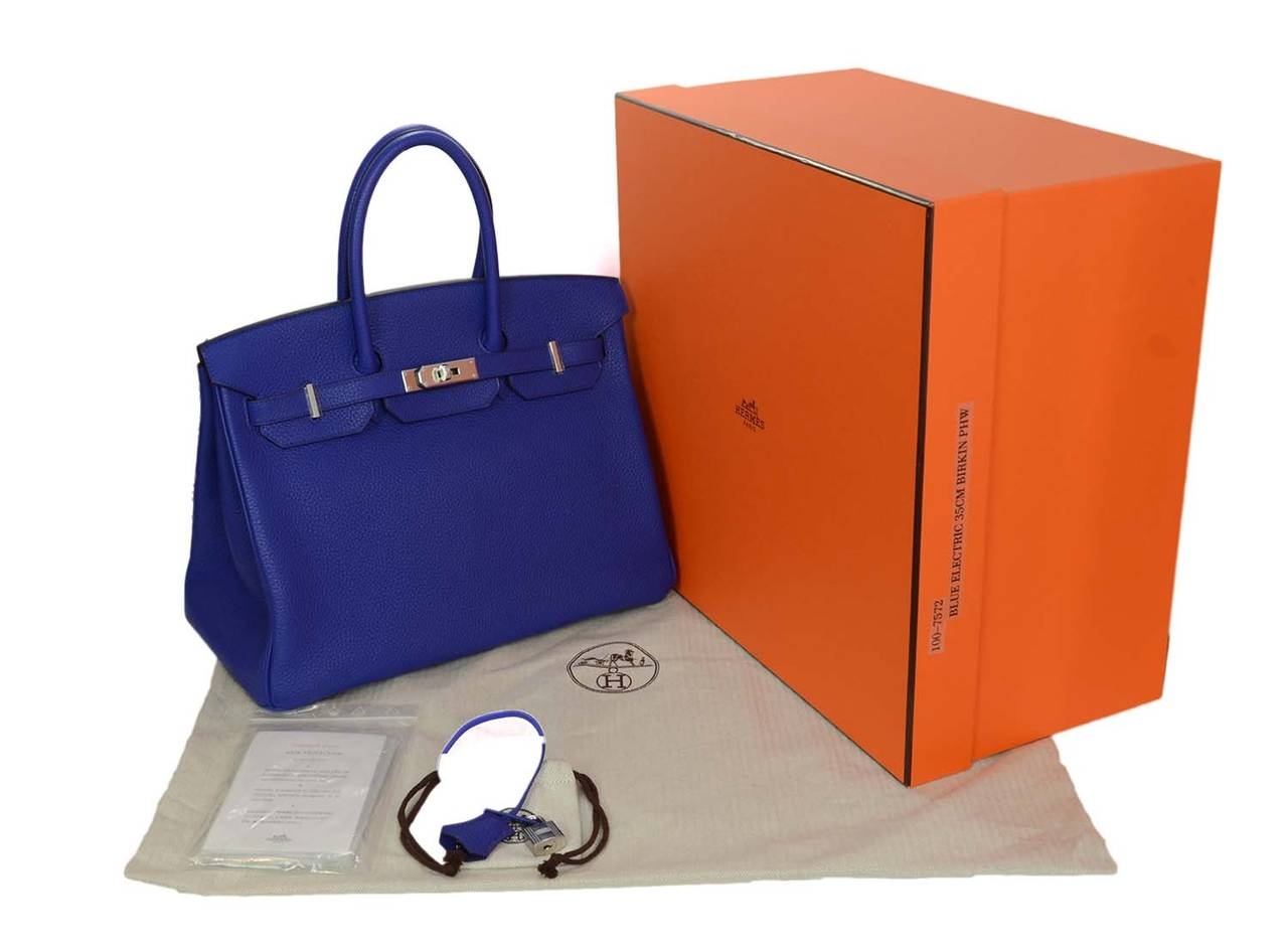 fake hermes purse - HERMES NIB 2014 Blue Electric Togo Leather 35cm Birkin Bag PHW at ...