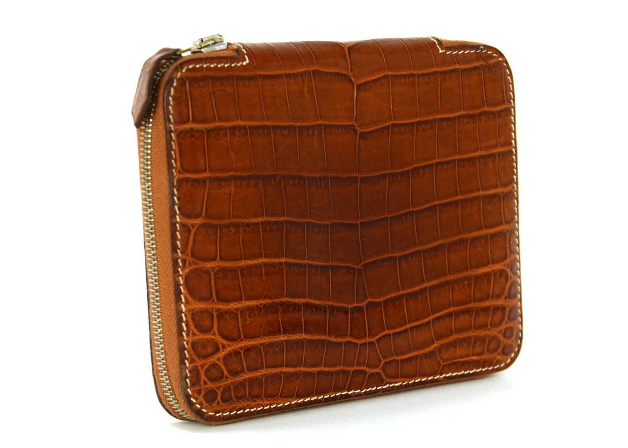 Hermes 2006 Cognac Nilo Crocodile Zip Around Agenda