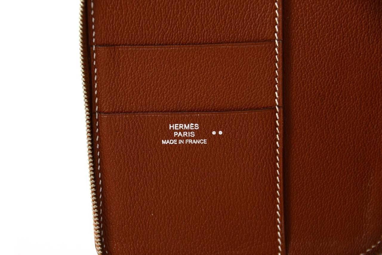 Hermes 2006 Cognac Nilo Crocodile Zip Around GM Agenda 8