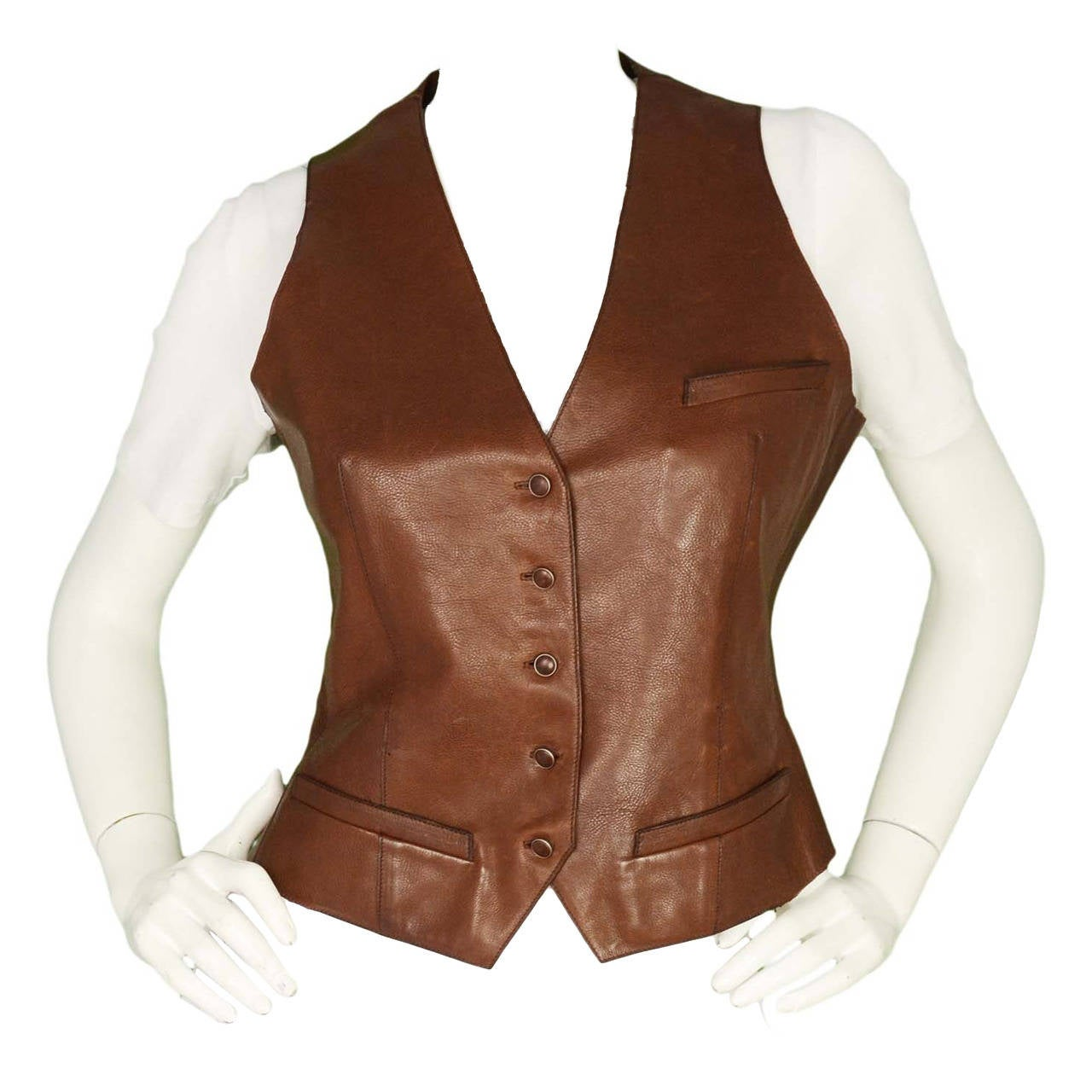 HERMES Brown Leather Button Down Vest 1