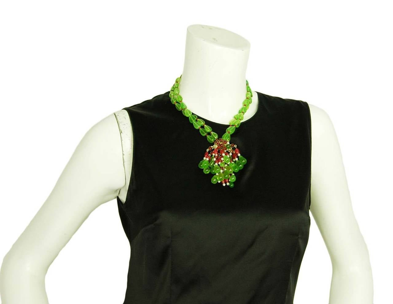 CHANEL Green/Red Two-Strand Necklace W/Glass, Crystals & Faux Pearl Cluster 6