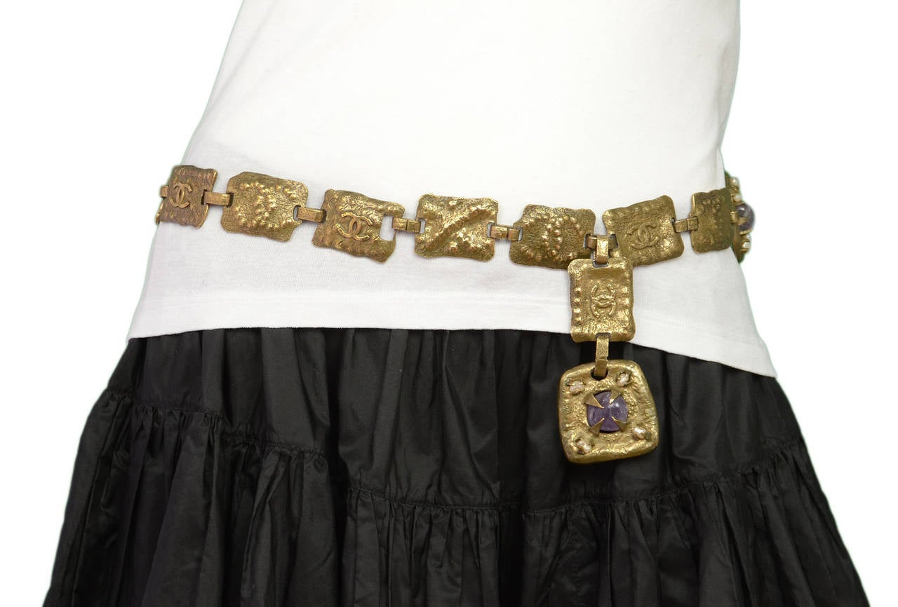 CHANEL Vintage 1997 Hammered Chain Belt w/Amethyst Colored Stones 4