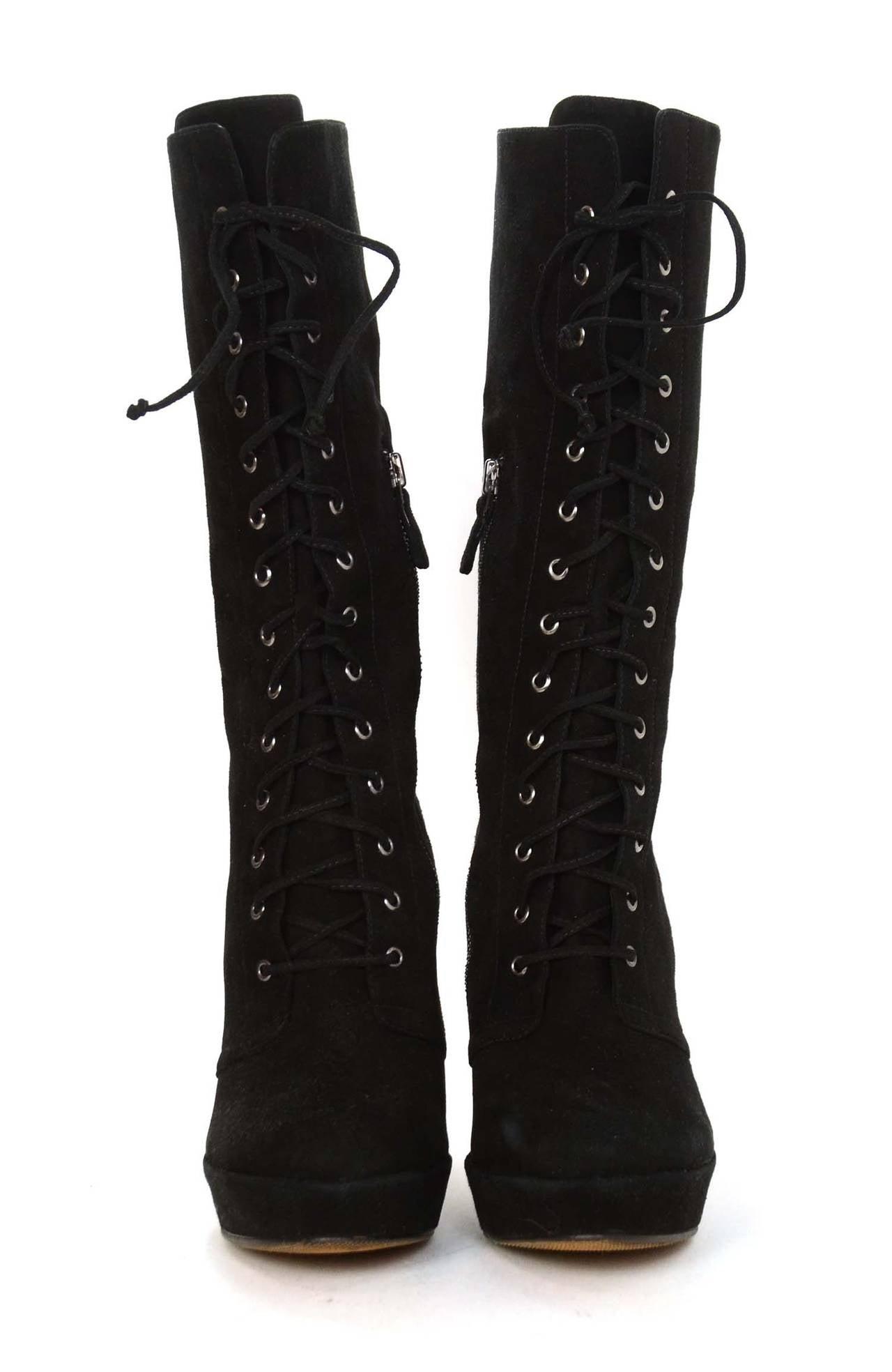 ALEXANDRE BIRMAN Black Suede Lace Up Heeled Boots sz. 10.5 2