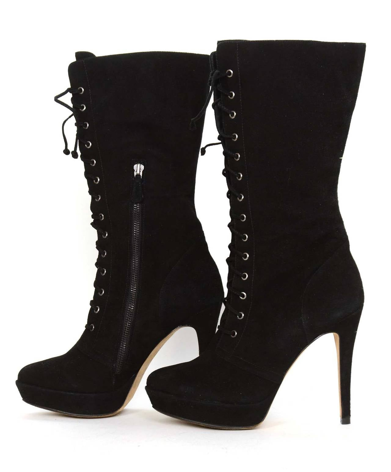 alexandre birman black suede lace up heeled boots sz 10 5