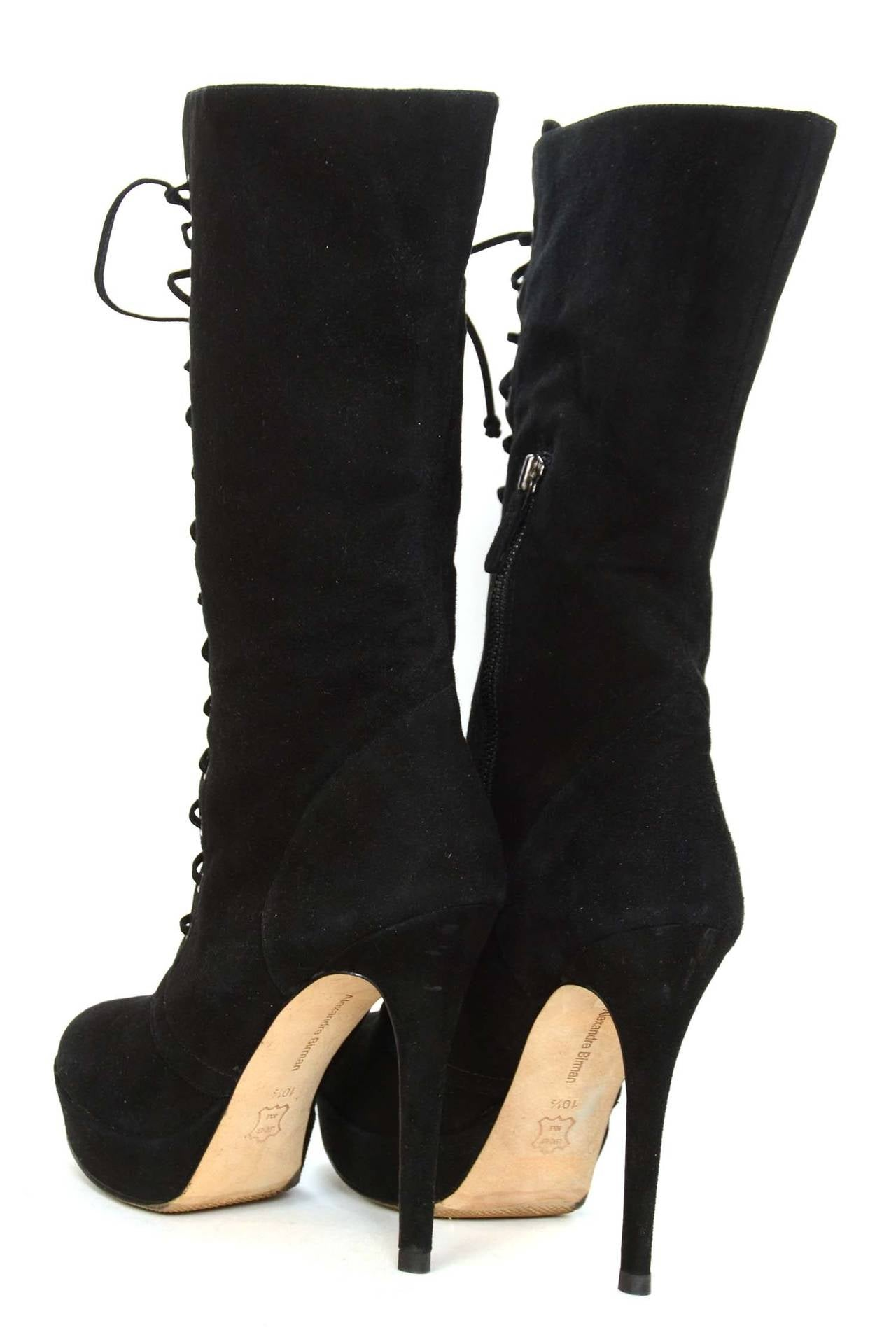 ALEXANDRE BIRMAN Black Suede Lace Up Heeled Boots sz. 10.5 4