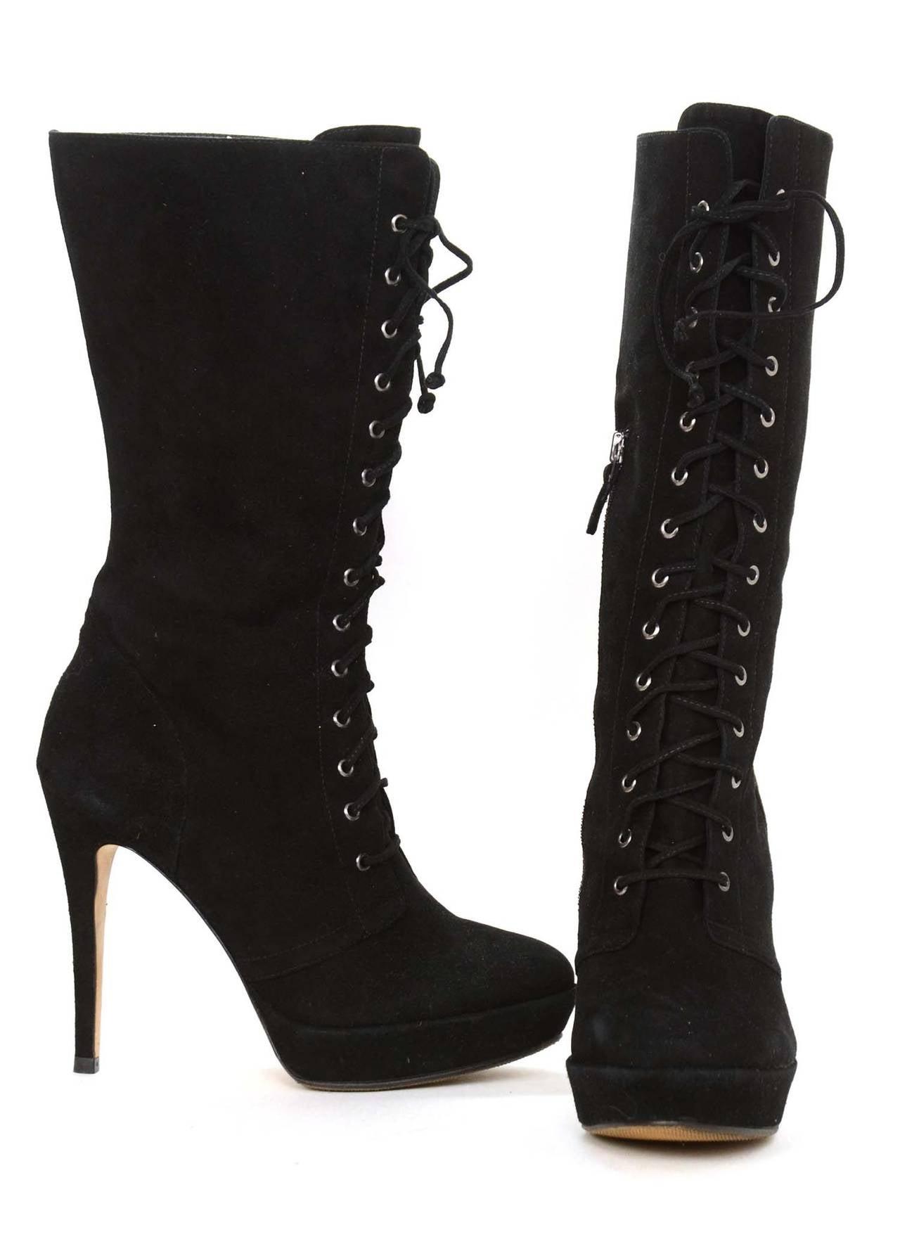 ALEXANDRE BIRMAN Black Suede Lace Up Heeled Boots sz. 10.5 5