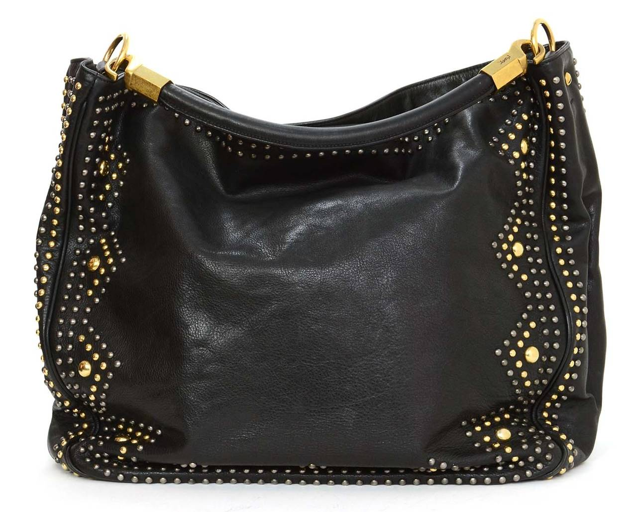 YSL YVES SAINT LAURENT Black Leather Roady Studded Hobo Bag rt ...