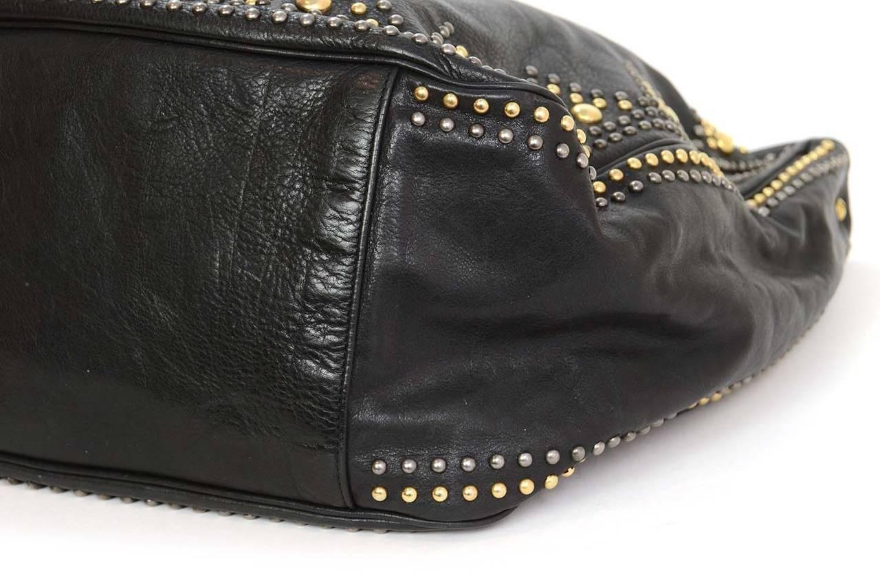 Ysl Yves Saint Laurent Black Leather Roady Studded Hobo