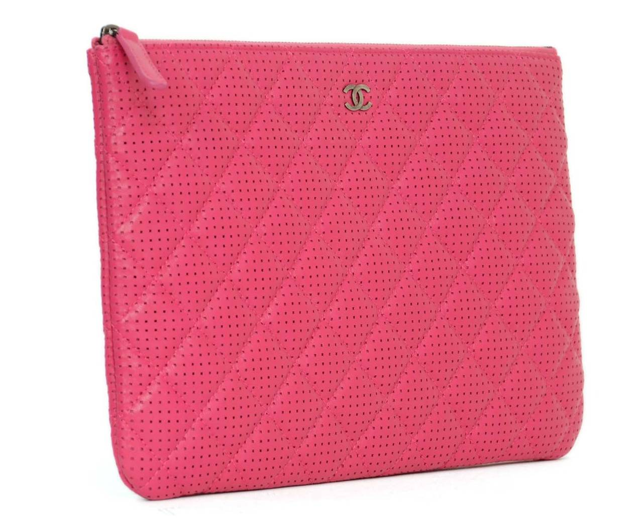 """5e371af5257836 CHANEL 2015 Hot Pink Perforated Lambskin """"O Case"""" Clutch Bag at  1stdibs"""