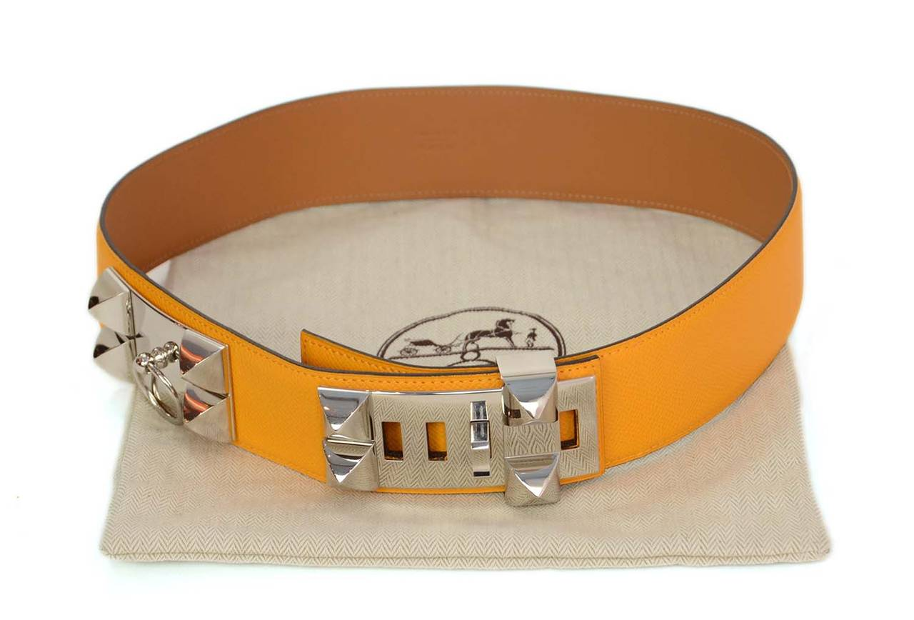 HERMES 2012 Yellow Epsom Leather Collier de Chien CDC Belt sz 75 rt $2,350 7