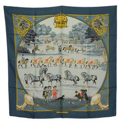 "Hermes Blue 1642 ""Presentation de Chavavx"" Pilgrim Silk Scarf 90 cm"