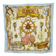 """HERMES Blue and Pink """"Musee"""" Nautical Themed Silk Scarf 90 cm"""