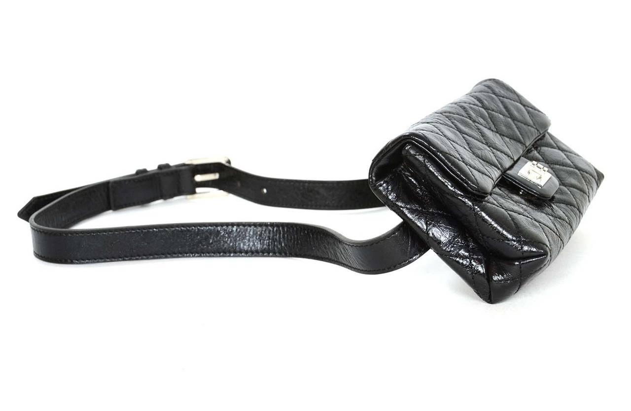 f6342c9e168d Chanel Black Quilted Calfskin Reissue Belt Bag sz 85 SHW Features glazed  calfskin and adjustable belt