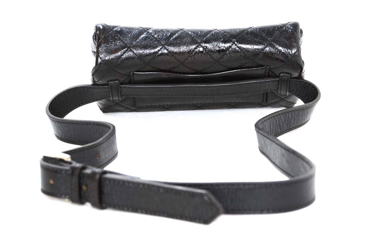6b0cd256d992 CHANEL Black Quilted Calfskin Reissue Belt Bag sz 85 SHW In Excellent  Condition For Sale In