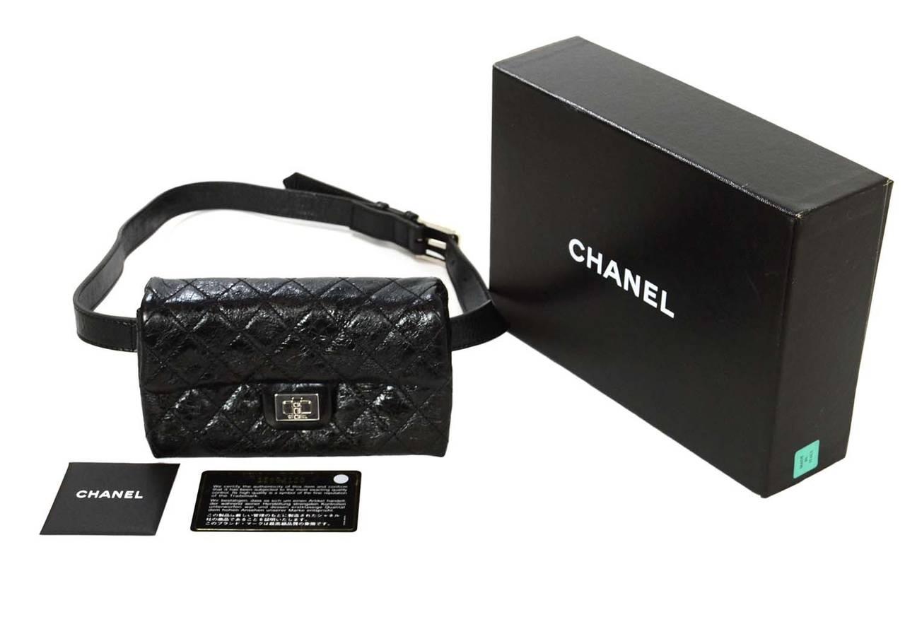 7cbe60fab94a CHANEL Black Quilted Calfskin Reissue Belt Bag sz 85 SHW For Sale 4
