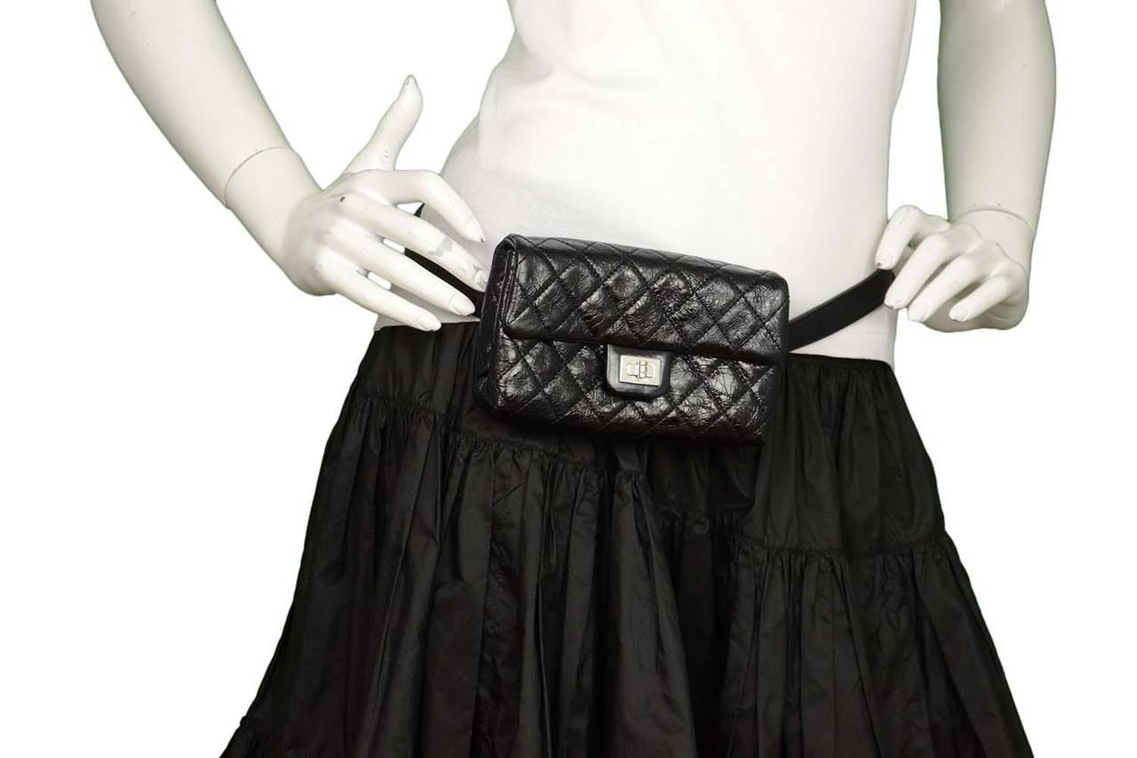 e5ac1ca900af CHANEL Black Quilted Calfskin Reissue Belt Bag sz 85 SHW For Sale 5