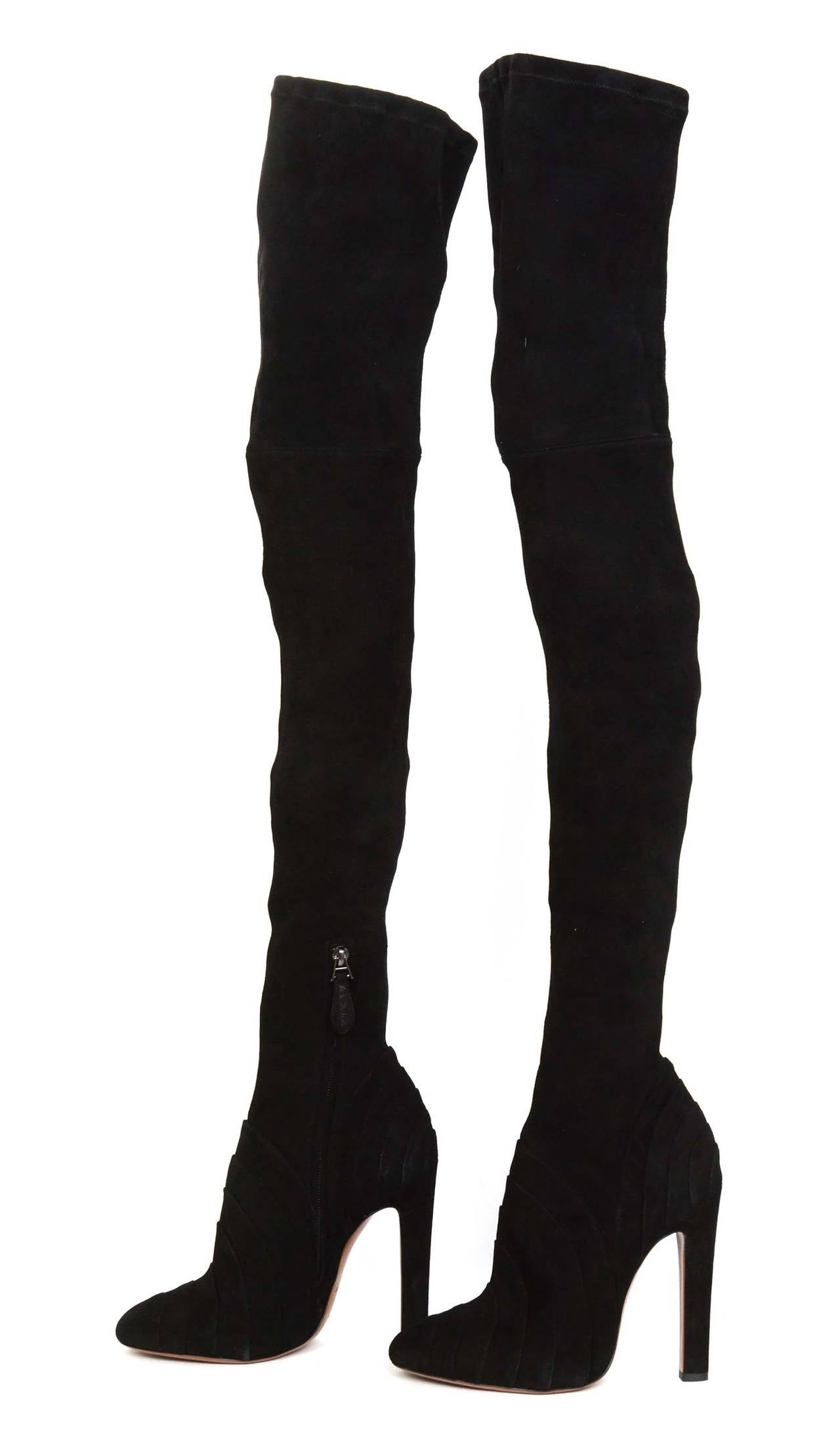 alaia black stretch suede the knee boots sz 40 rt