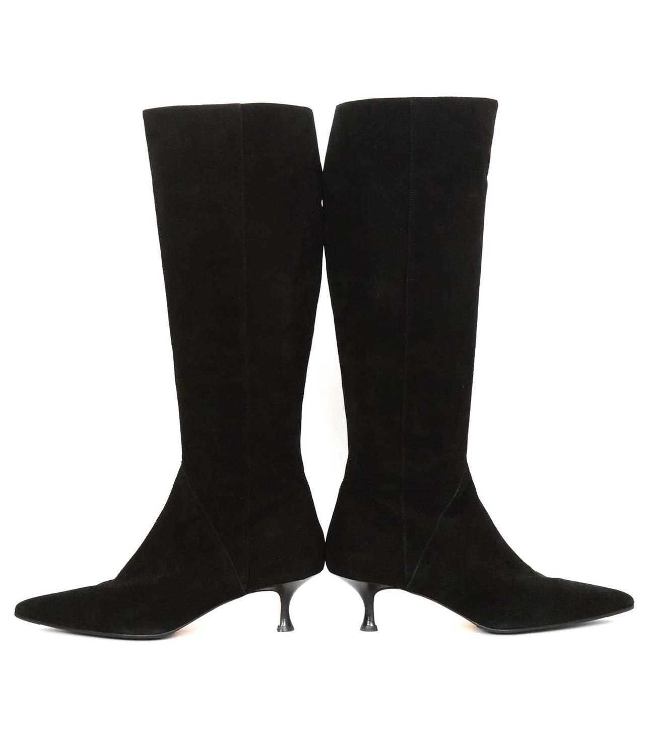 manolo blahnik black suede boots w kitten heel sz 42