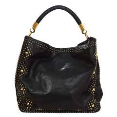 YSL YVES SAINT LAURENT Black Leather Roady Studded Hobo Bag rt. $2,295