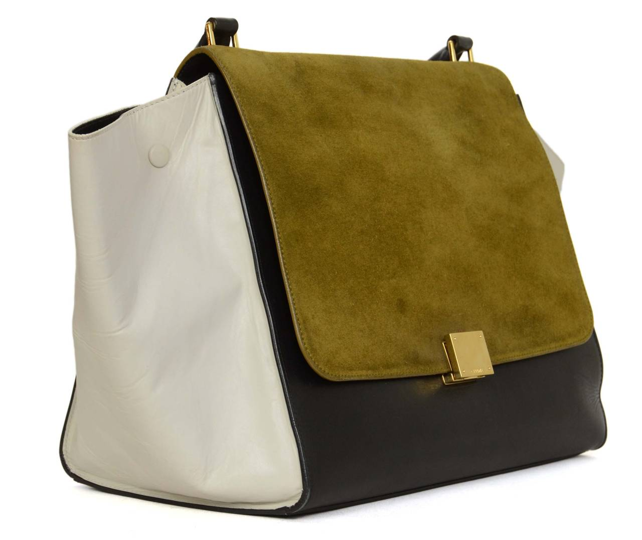 CELINE 2012 Olive/Navy/White Leather and Suede Tri-Color LG ...