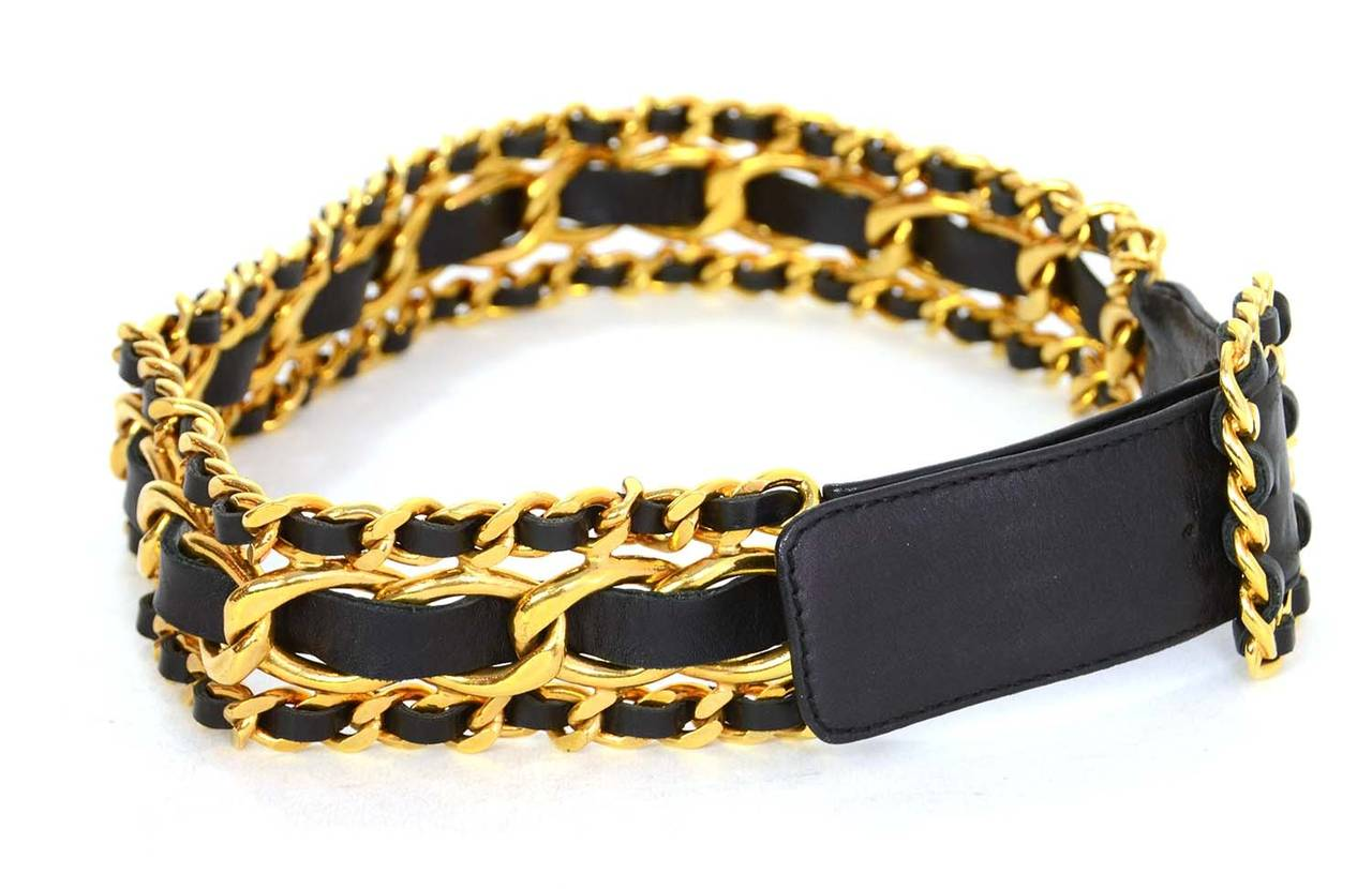 Chanel Vintage '89 Black/Gold Leather Woven Chain Link Belt sz 75