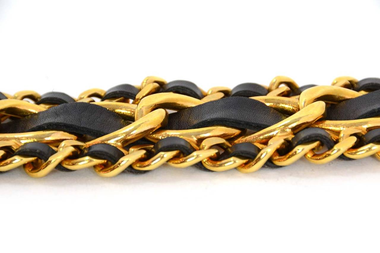 CHANEL Vintage 1989 Black/Gold Leather Woven Chain Link Belt sz 75 For Sale 1