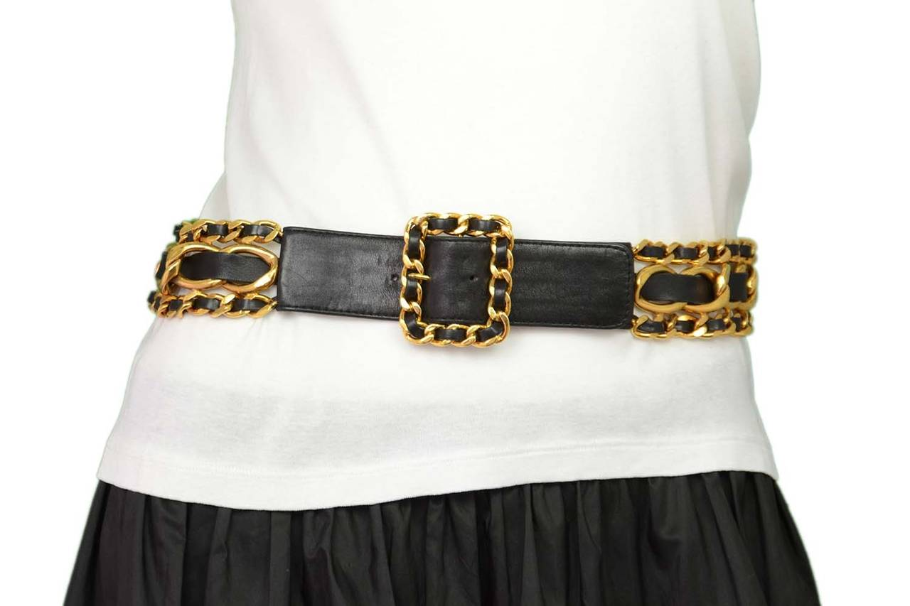 CHANEL Vintage 1989 Black/Gold Leather Woven Chain Link Belt sz 75 For Sale 2