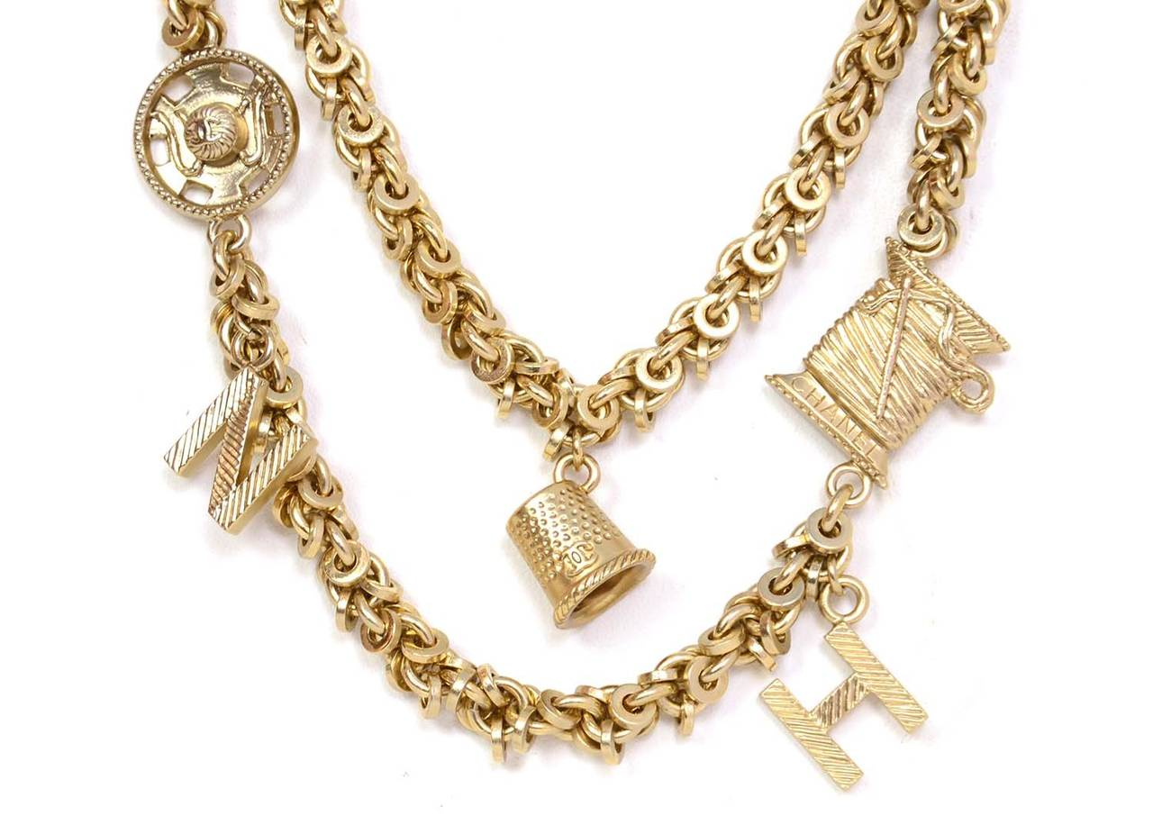 Beige Chanel 2003 Goldtone Chain Belt/Necklace w/ Seamstress Charms For Sale