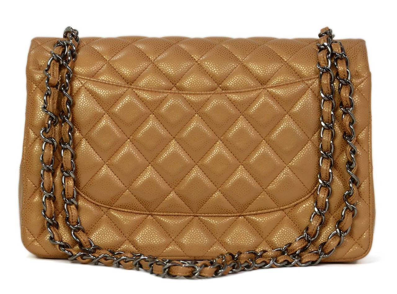 f63e774f7896a6 Chanel Metallic Gold Caviar Leather Double Flap Large Jumbo Classic Bag In  Excellent Condition For Sale