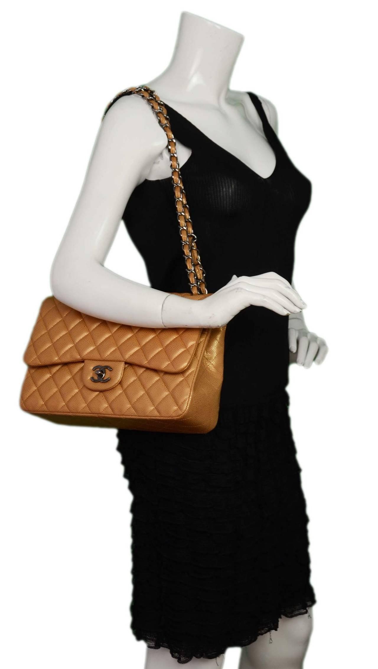 084add1e5fe291 Chanel Metallic Gold Caviar Leather Double Flap Large Jumbo Classic Bag For  Sale 6