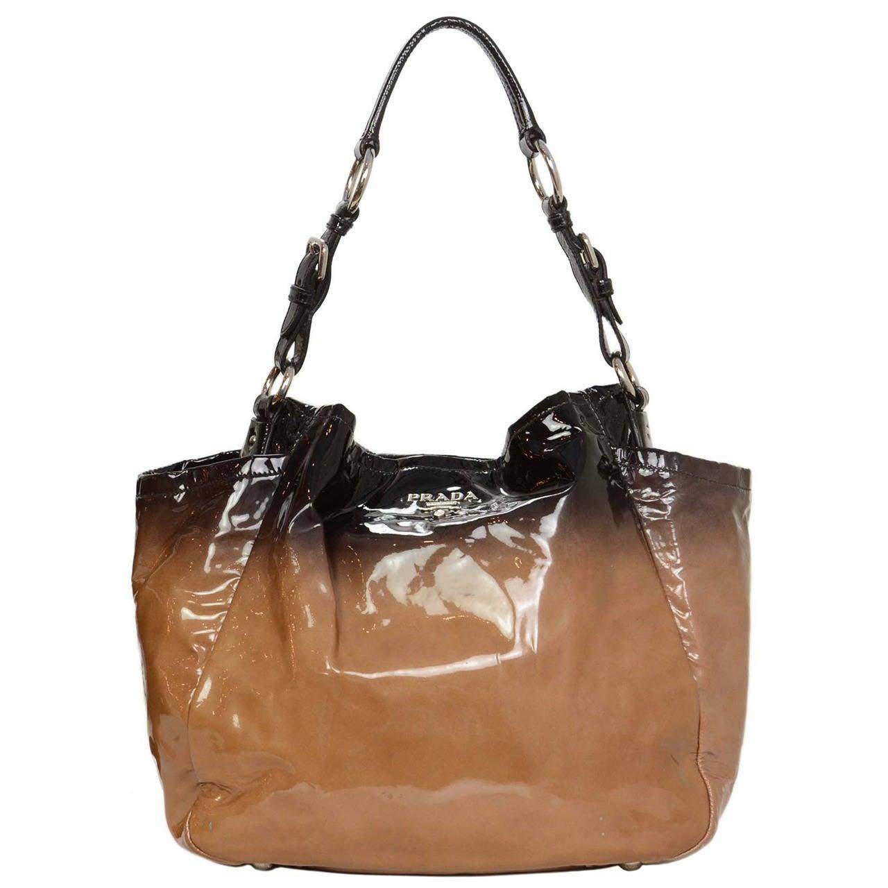 2773e5d41bcdd ... italy prada 2007 nude to black ombre vernice sfumata shoulder bag rt  1965 for sale df407 ...