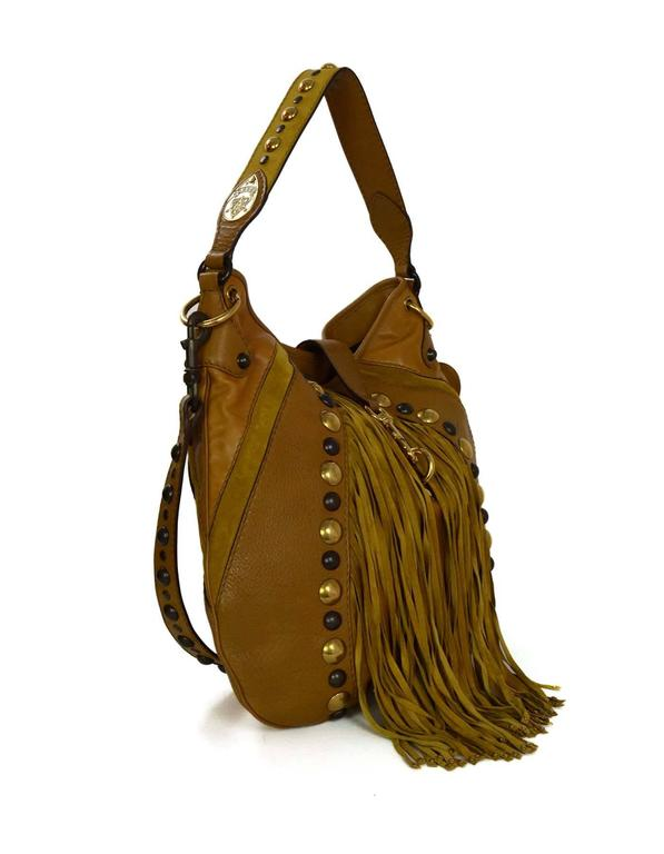 Gucci Mustard Leather   Suede Fringe Babouska Hobo Bag GHW Features studs  throughout and optional shoulder d62e56d7bd5fb