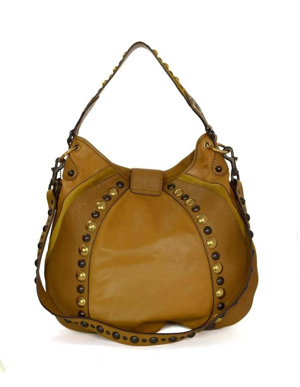 bbfd1cc9b0307c Gucci Mustard Leather & Suede Fringe Babouska Hobo Bag GHW In Excellent  Condition For Sale In